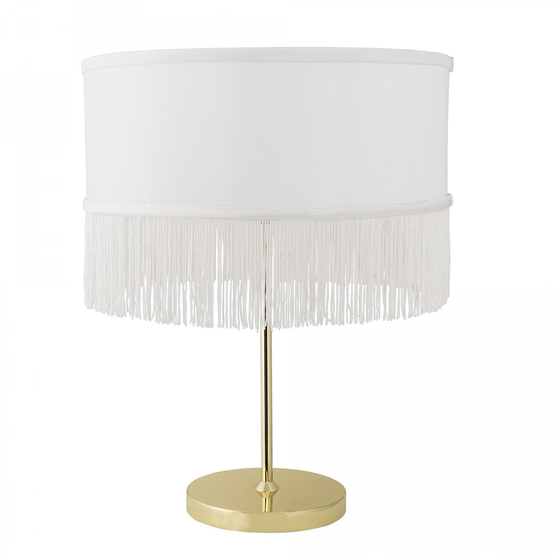 Bloomingville Stolní lampa Gold Metal, bílá barva, zlatá barva, kov, textil