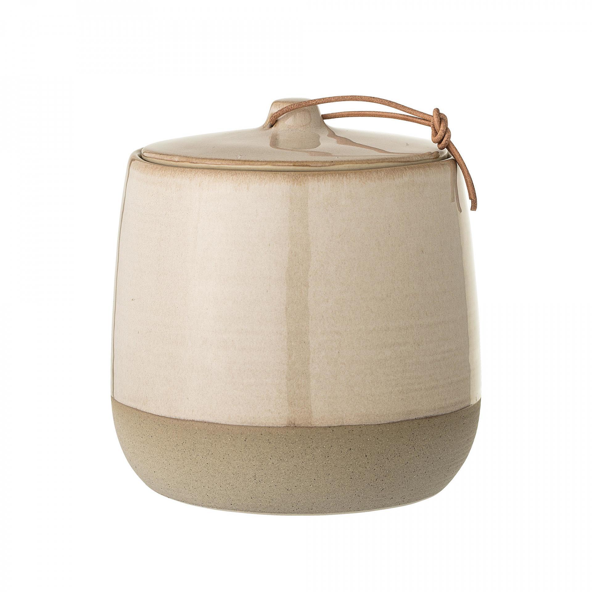 Bloomingville Kameninová dóza, béžová barva, keramika