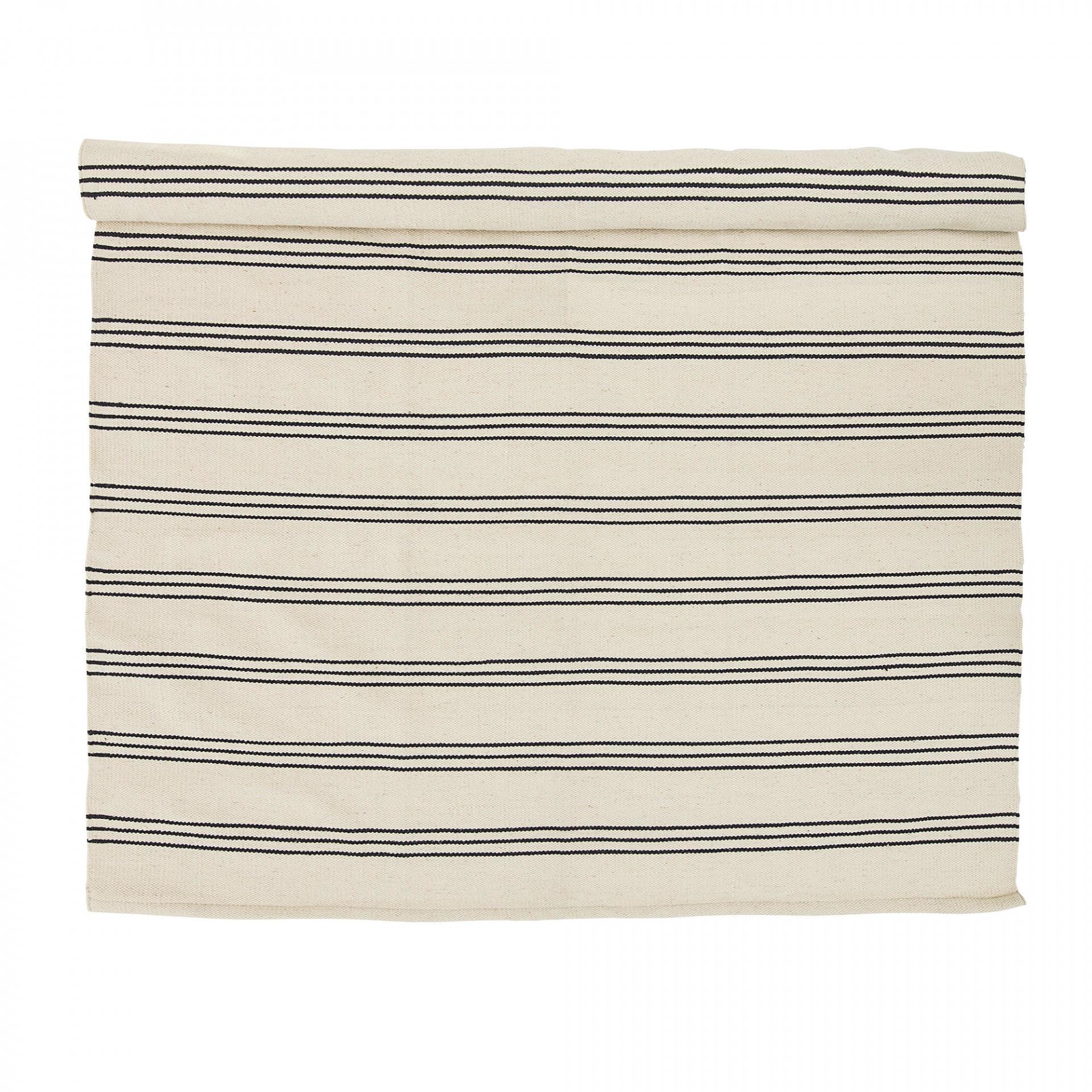 Bloomingville Bavlněný koberec Nature, šedá barva, bílá barva, textil