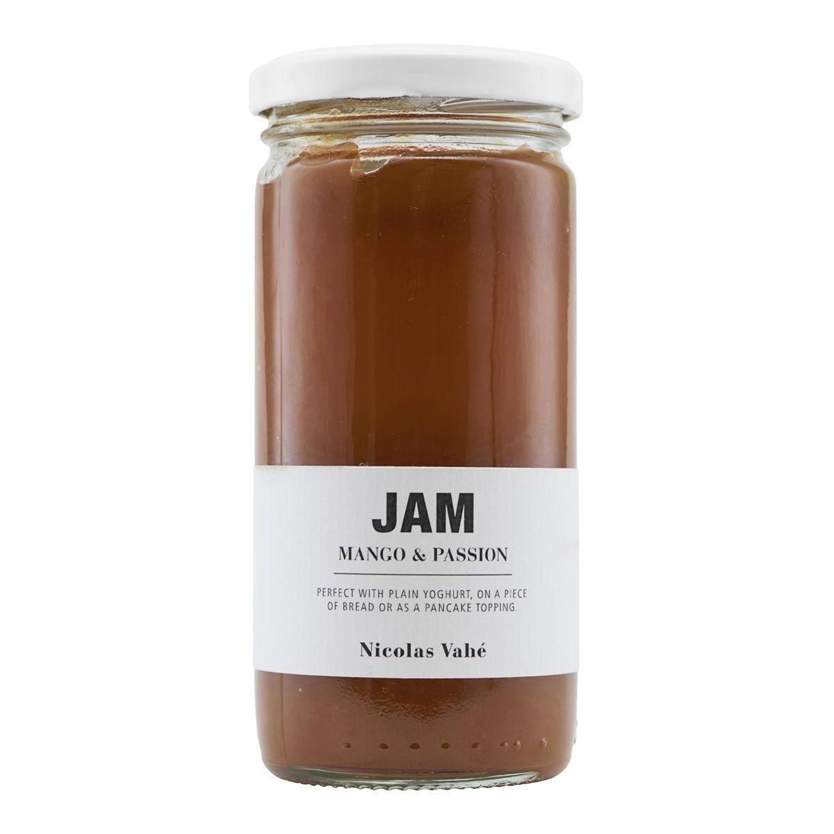Nicolas Vahé Mangový džem s marakujou 290 g, oranžová barva, bílá barva, sklo