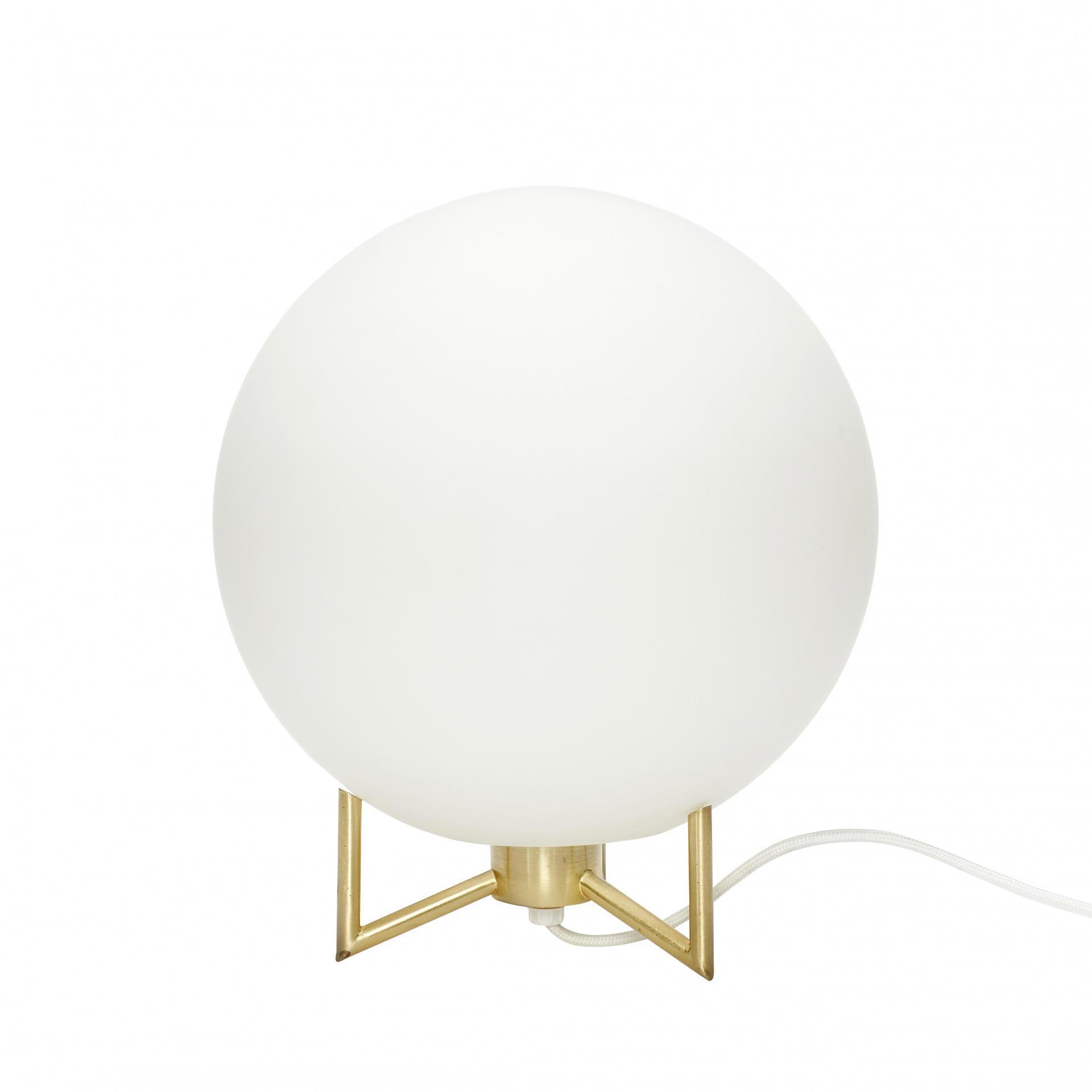 Hübsch Stolní lampa Metal Glass, bílá barva, zlatá barva, sklo, kov