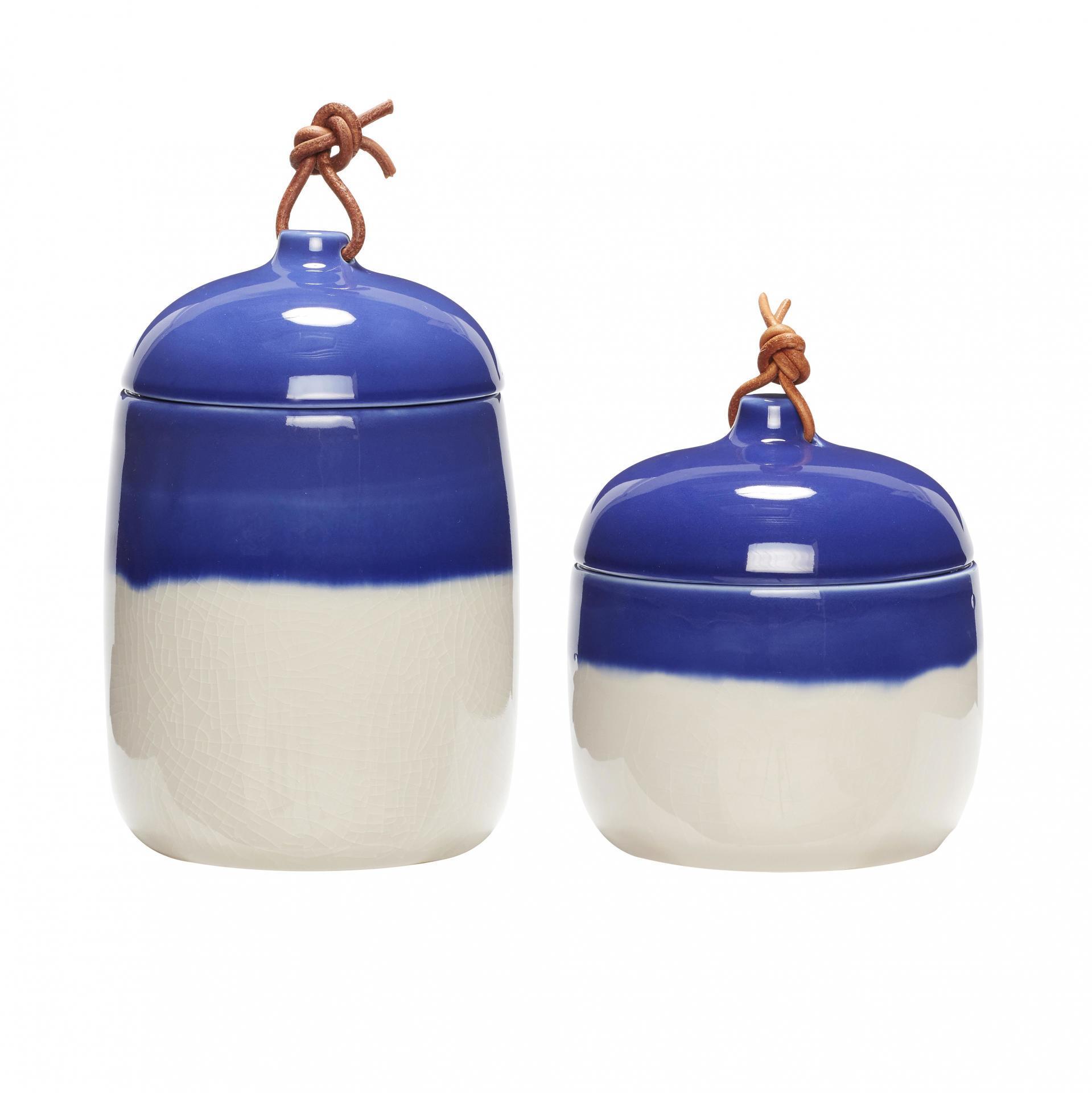 Hübsch Úložná keramická dóza Blue White Větší, modrá barva, bílá barva, keramika