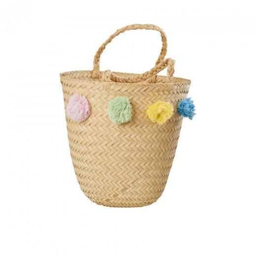 rice Plážová taška s bambulkami Pompom, přírodní barva, proutí