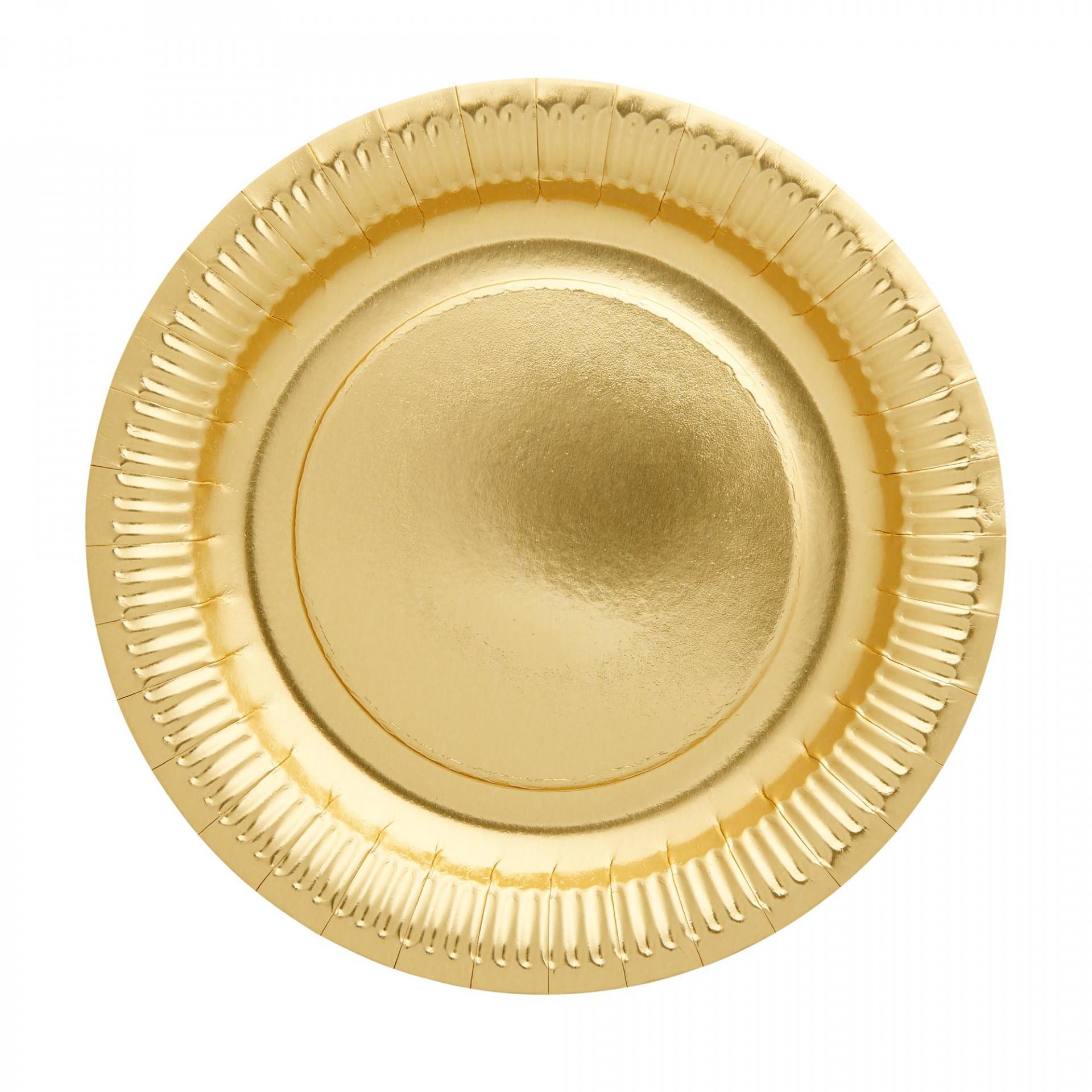 rice Papírové talířky Gold - set 8 ks, zlatá barva, papír