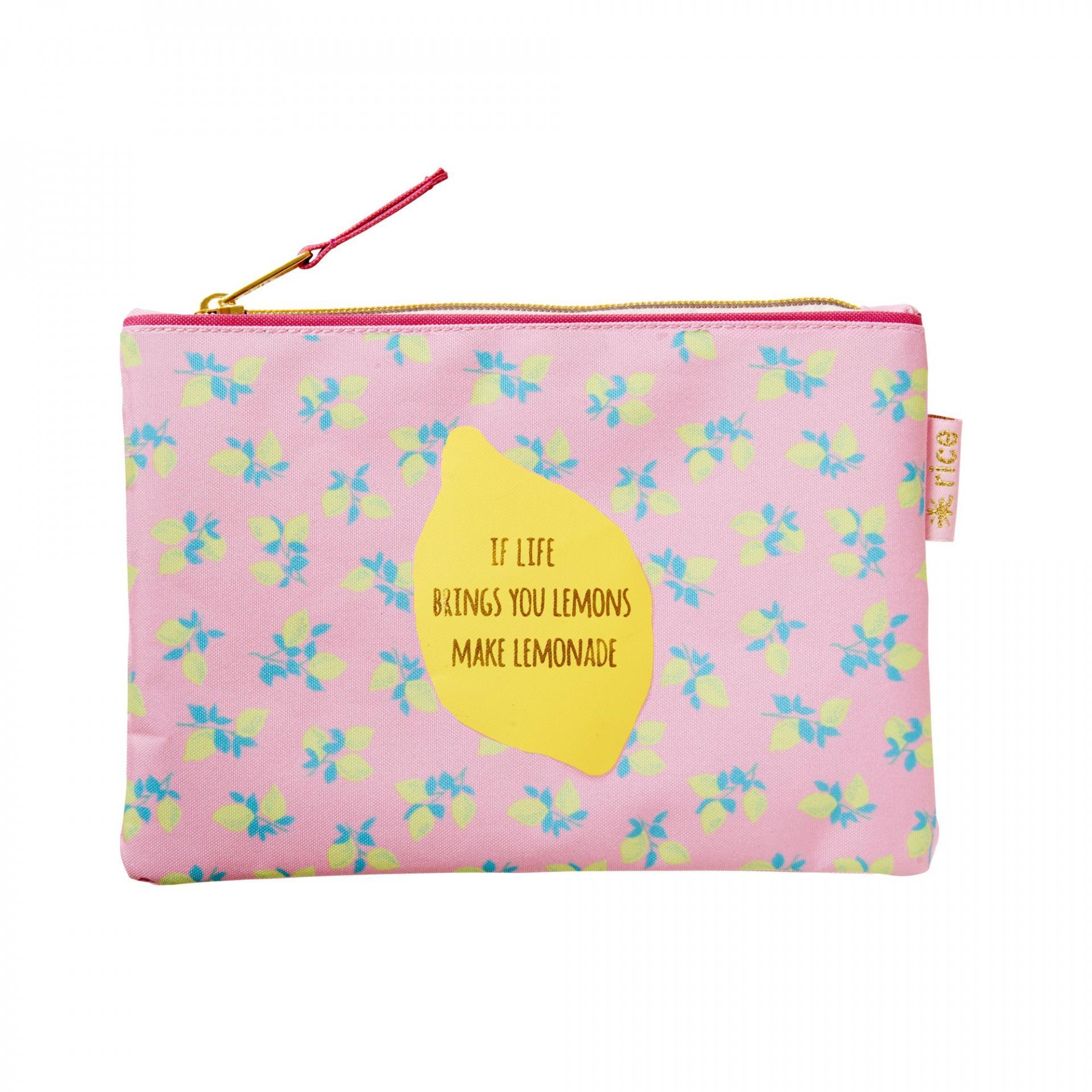 rice Pouzdro na psací potřeby Lemon, růžová barva, textil