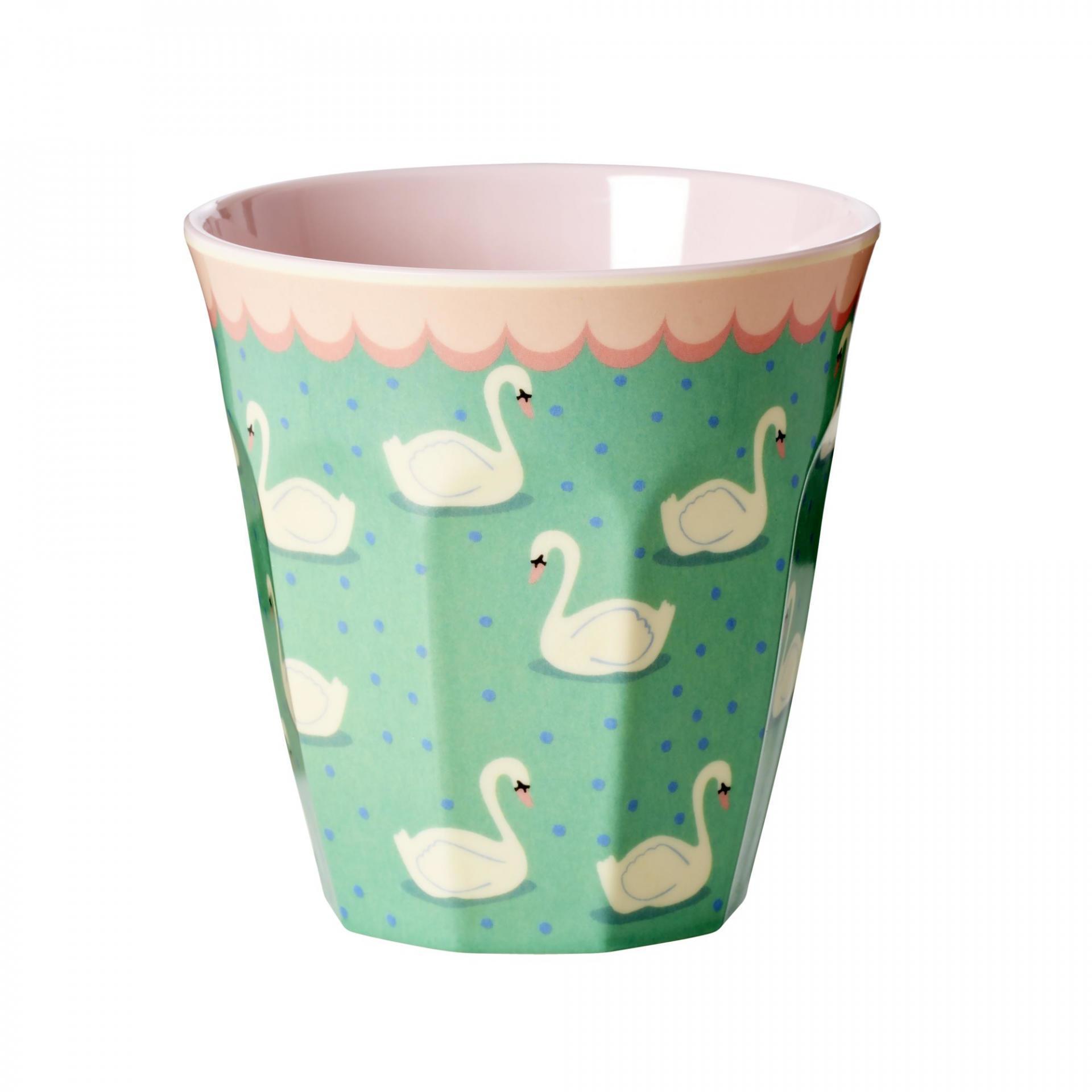 rice Melaminový pohárek Swan, zelená barva, melamin