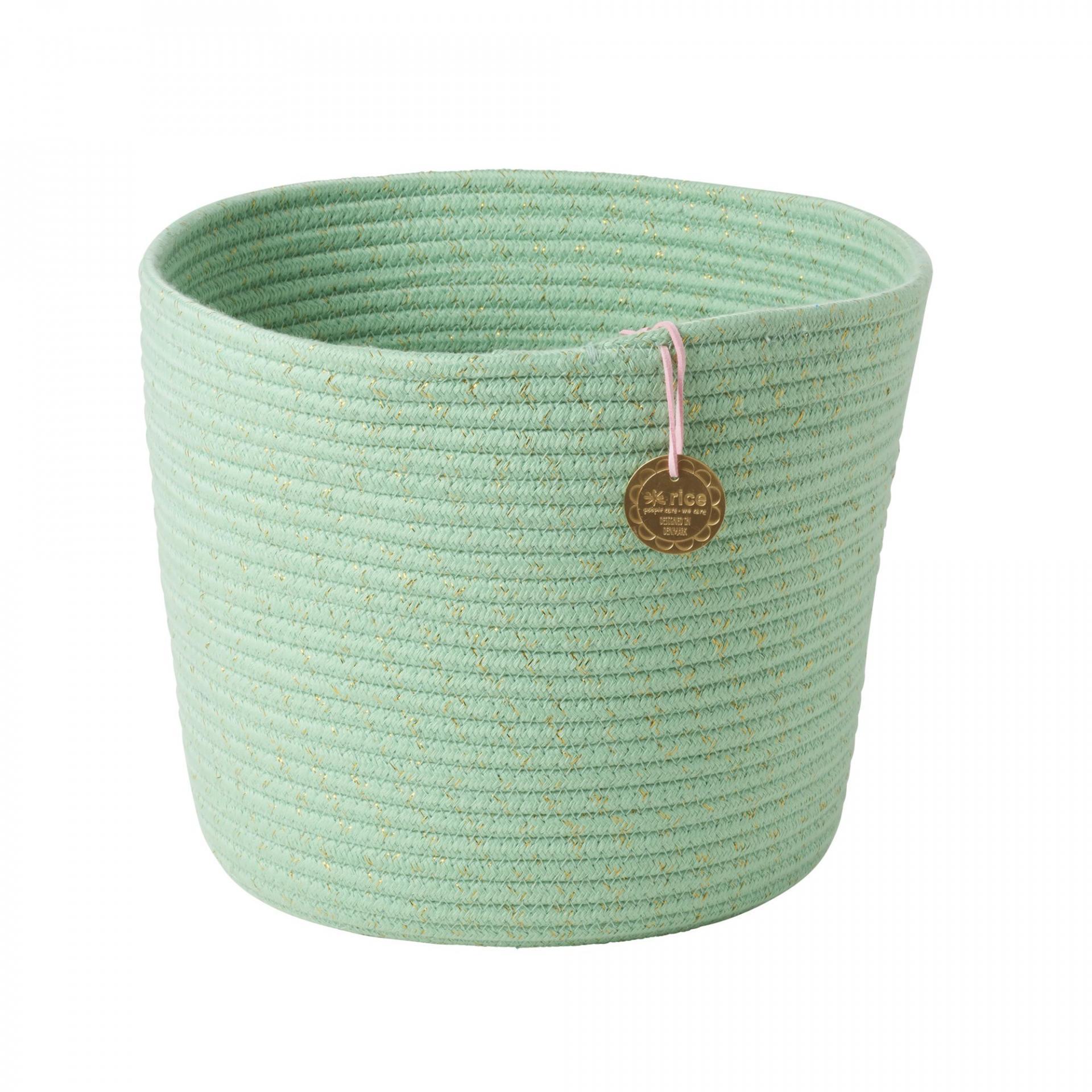 rice Úložný koš Mint Green, zelená barva, textil