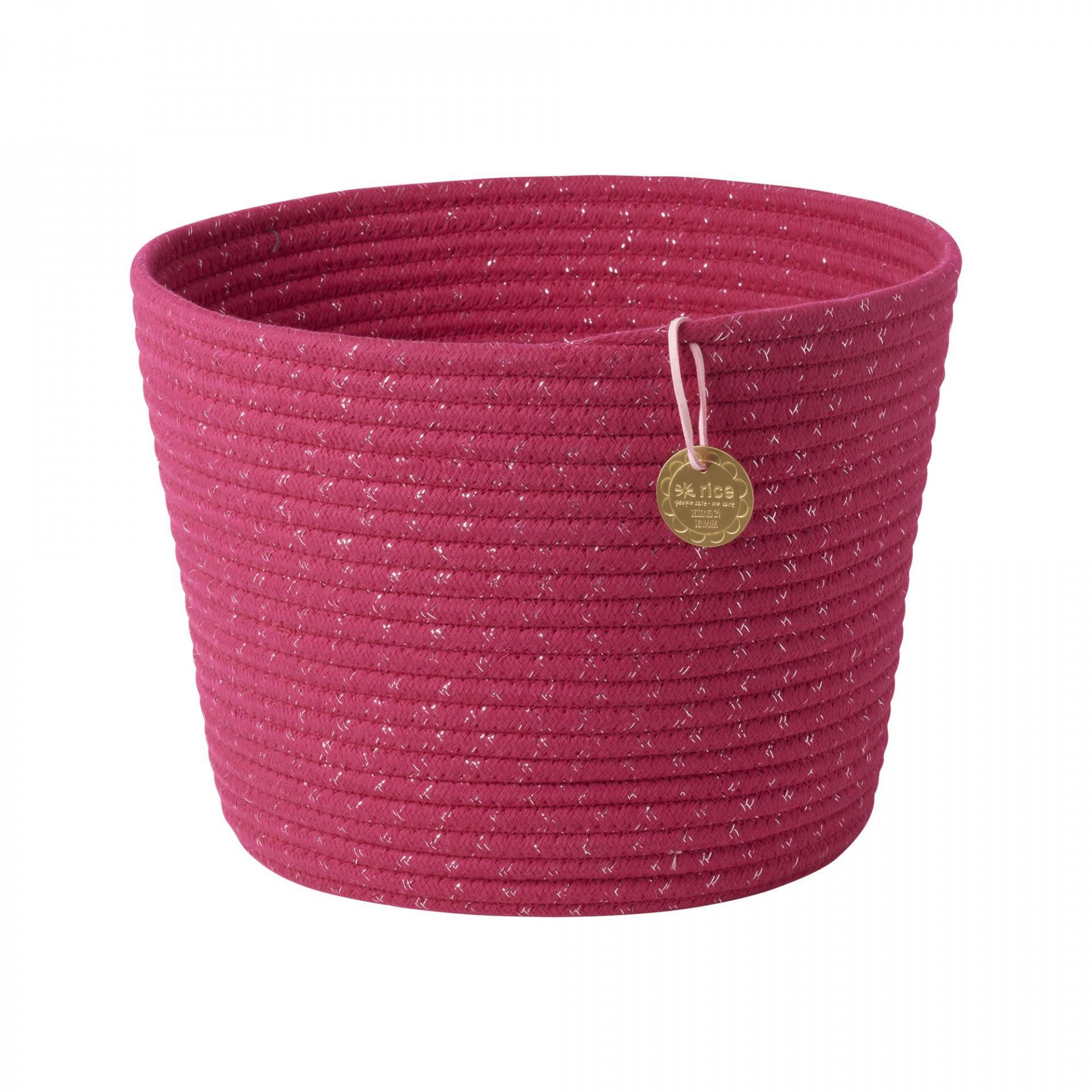rice Úložný koš Fuchsia, růžová barva, textil