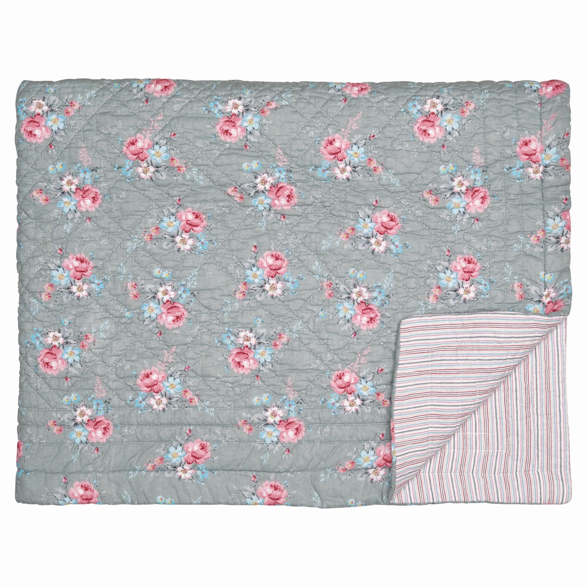 GREEN GATE Prošívaný přehoz Marie grey 180x230 cm, růžová barva, šedá barva, textil