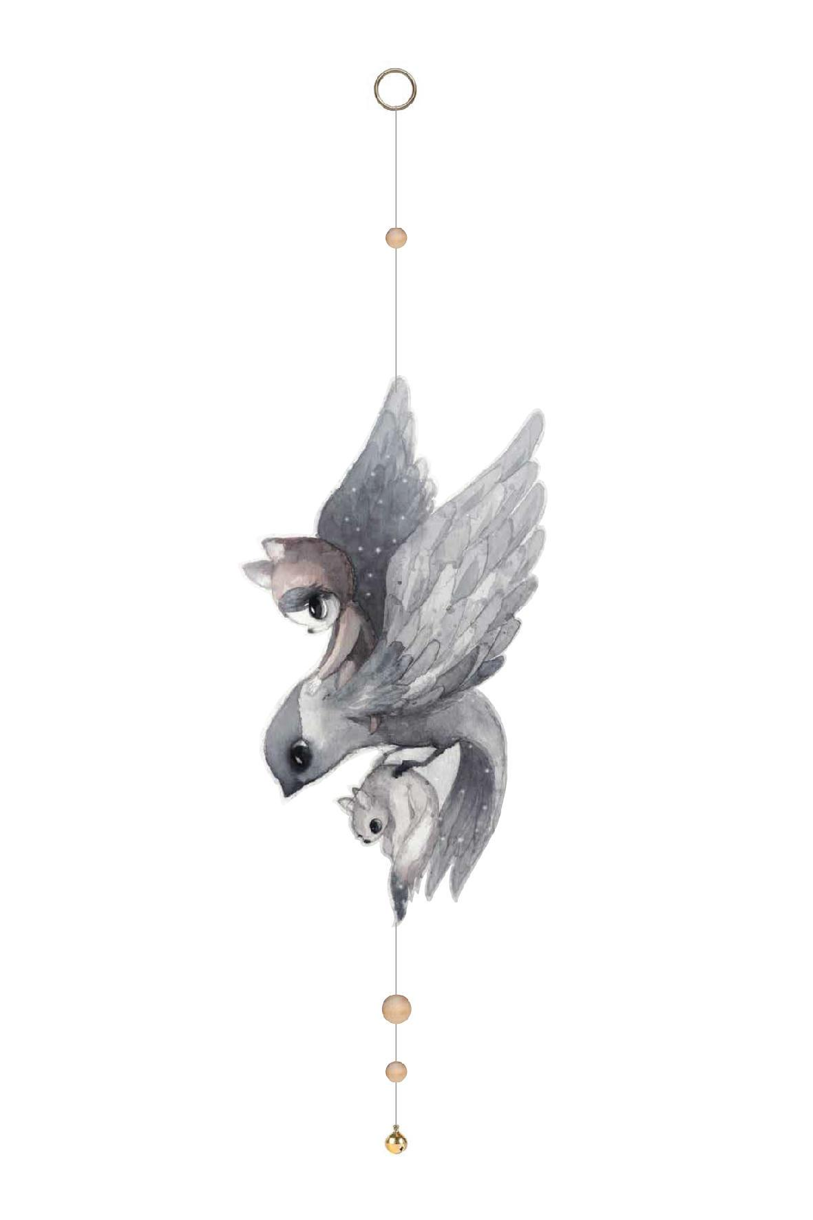 MRS. MIGHETTO Závěsná dekorace nad postýlku FLYING SPARROW, šedá barva, papír