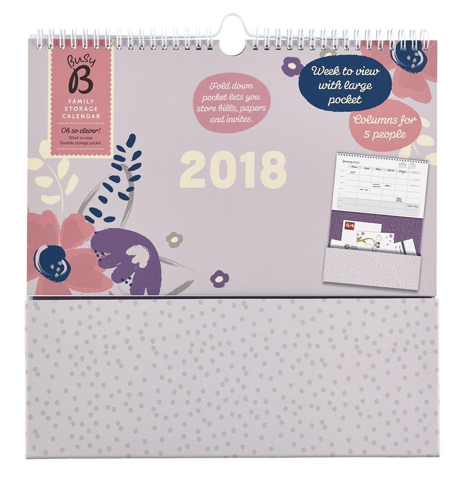 Busy B Rodinný plánovací kalendář s kapsou 2018 Pretty, růžová barva, šedá barva, papír