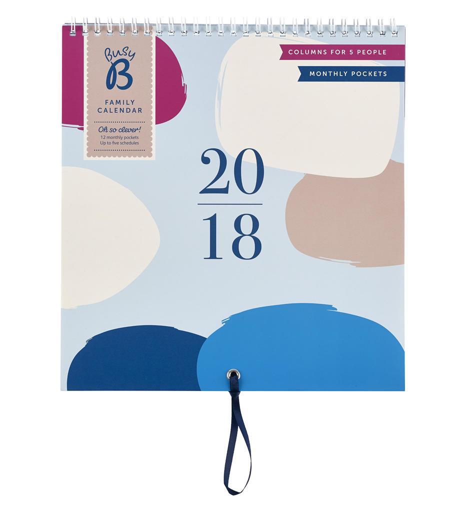 Busy B Rodinný plánovací kalendář 2018 Contemporary, růžová barva, fialová barva, modrá barva, papír