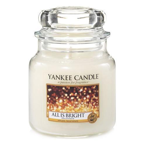 Yankee Candle Svíčka Yankee Candle 411gr - All Is Bright, krémová barva, sklo