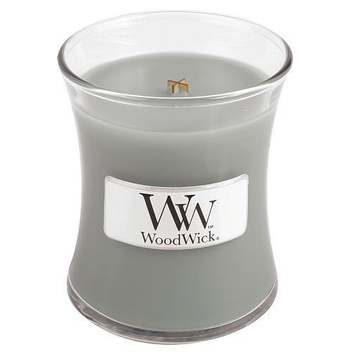 WoodWick Vonná svíčka WoodWick - U krbu 85 g, šedá barva, sklo, dřevo
