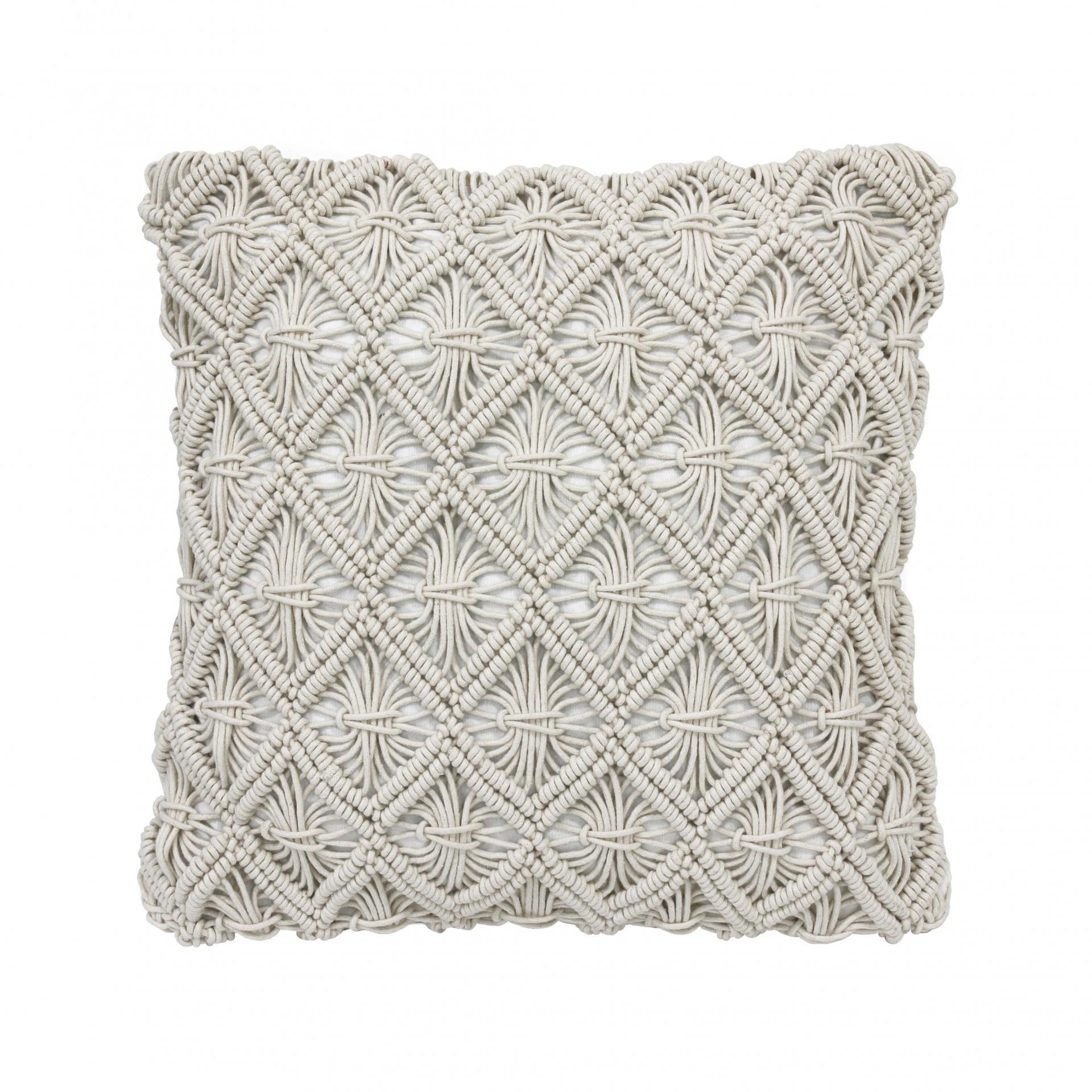 HK living Bavlněný polštář Macramé Natural, béžová barva, textil