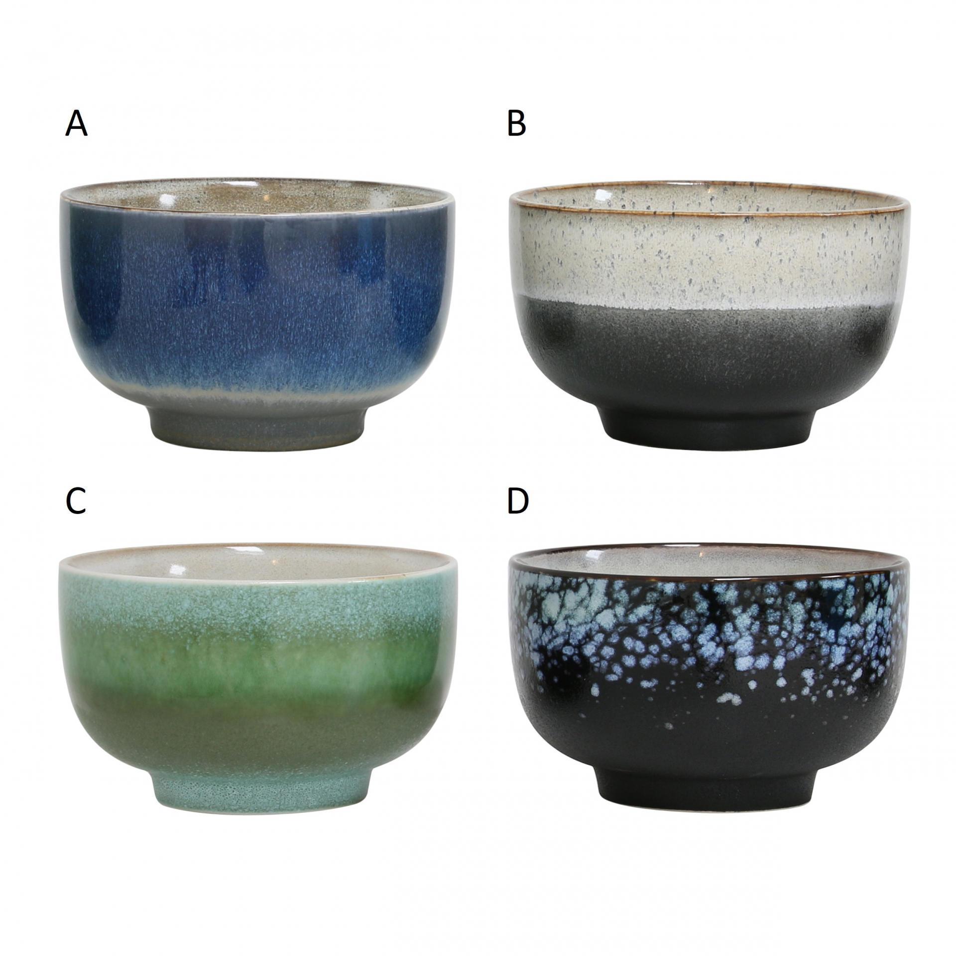 HK living Keramická miska 70´s Typ A, modrá barva, zelená barva, hnědá barva, keramika