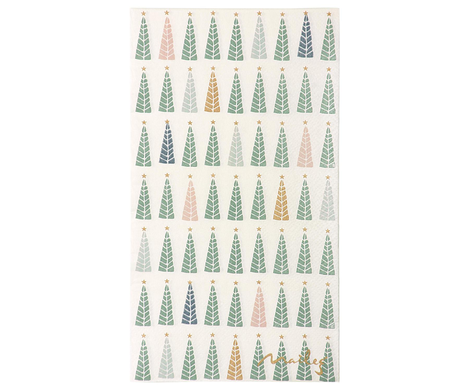 Maileg Papírové ubrousky Christmas trees, zelená barva, bílá barva, papír