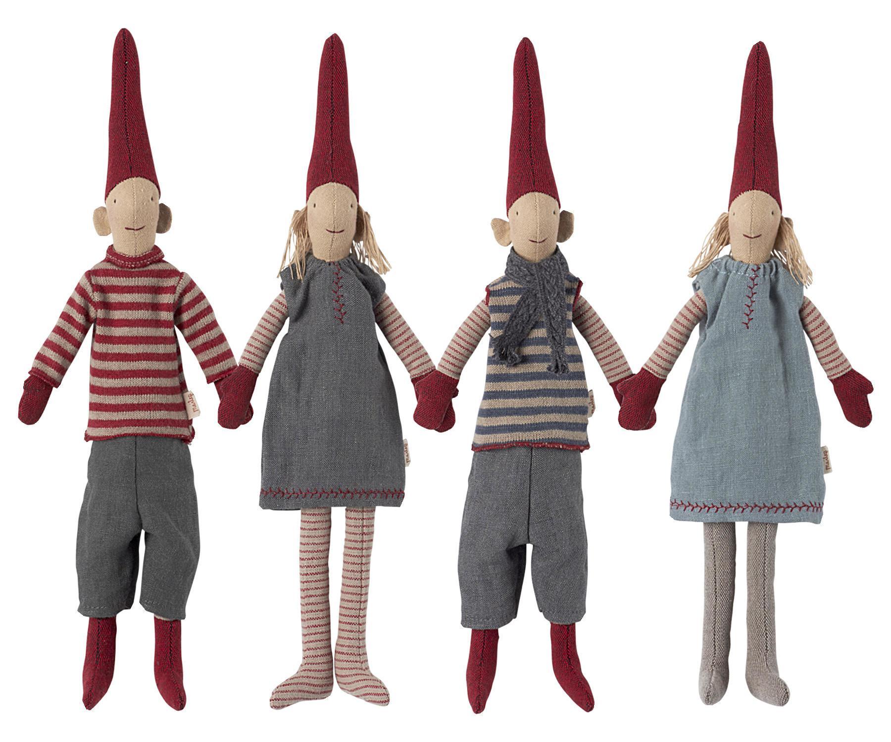 Maileg Skřítek Pixy čtyři varianty - mini Typ A (kluk svetr), červená barva, béžová barva, šedá barva, textil