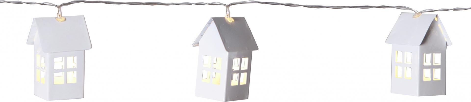 STAR TRADING Světelný LED řetěz s domečky Tin House, bílá barva, kov, plast