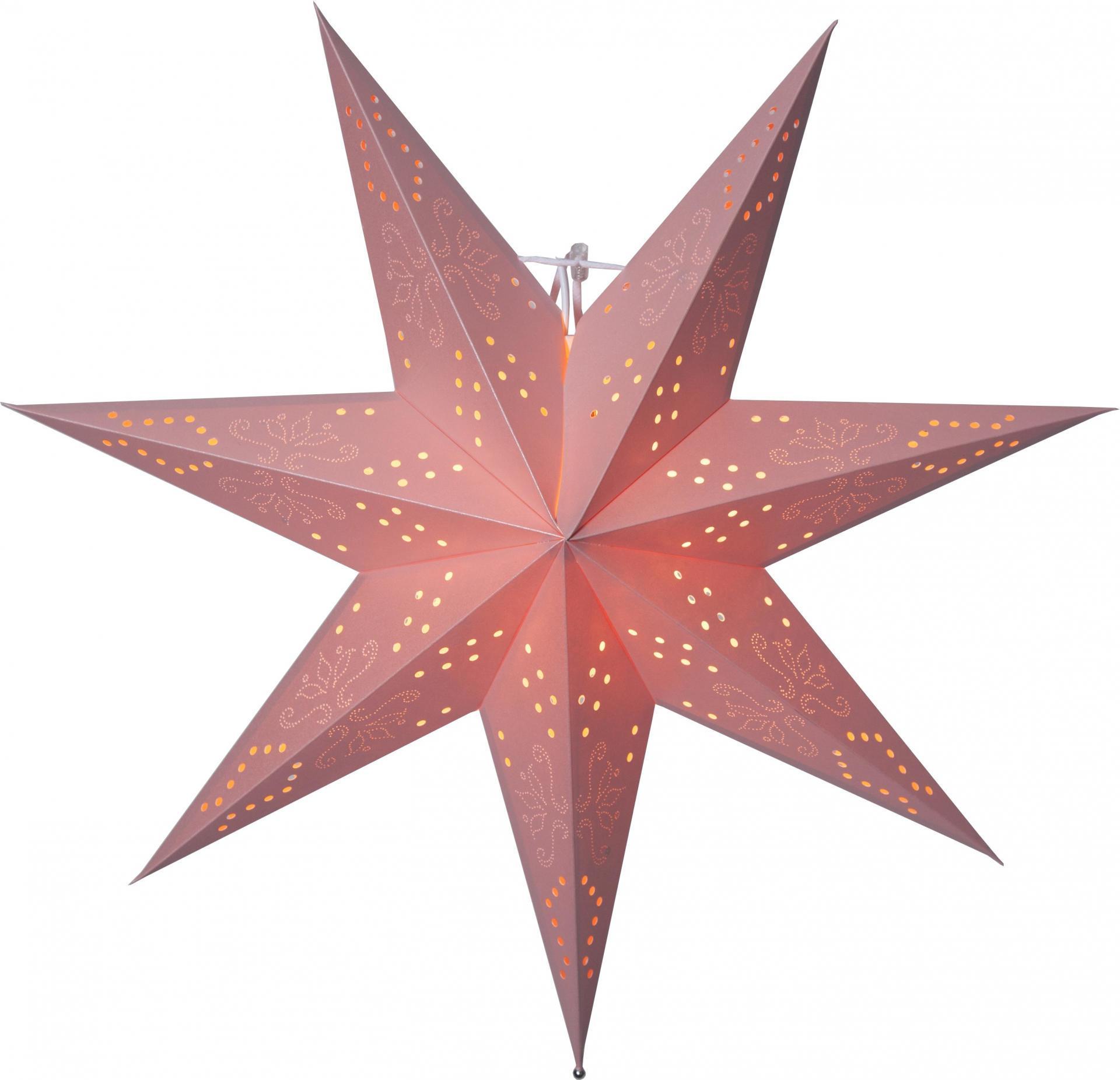 STAR TRADING Závěsná svítící hvězda Romantic Pink 54 cm, růžová barva, papír