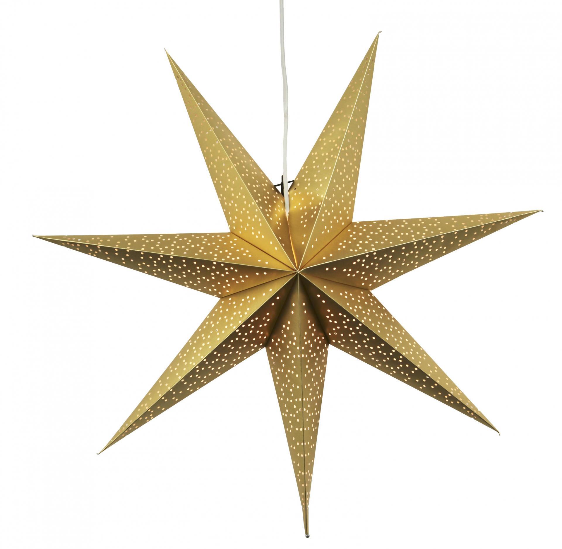 STAR TRADING Závěsná svítící hvězda Dot Gold 70 cm, zlatá barva, papír