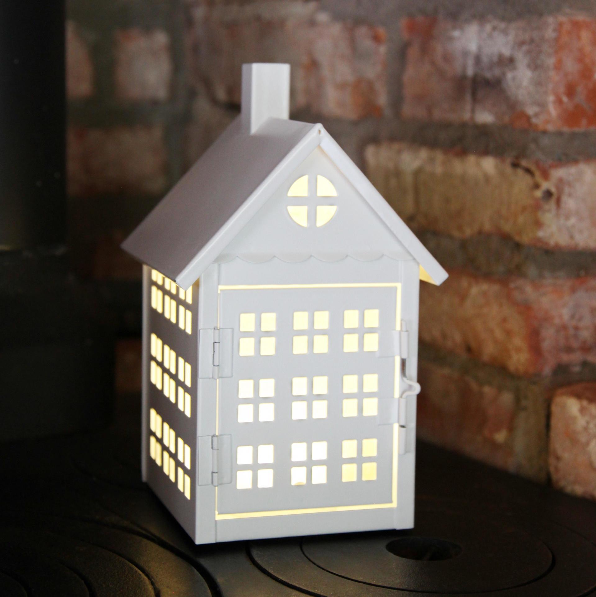 STAR TRADING Plechový LED domeček White, bílá barva, kov