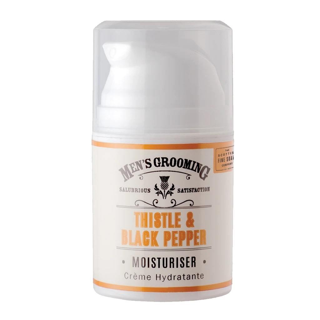SCOTTISH FINE SOAPS Pánský hydratační pleťový krém Thistle & Black pepper 50ml, oranžová barva, bílá barva, plast - Scottish Fine Soaps Pánský hydratační krém Černý pepř a ostropestřec 50 ml