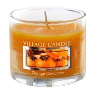 VILLAGE CANDLE Mini svíčka Village Candle - Orange Cinnamon, oranžová barva, vosk