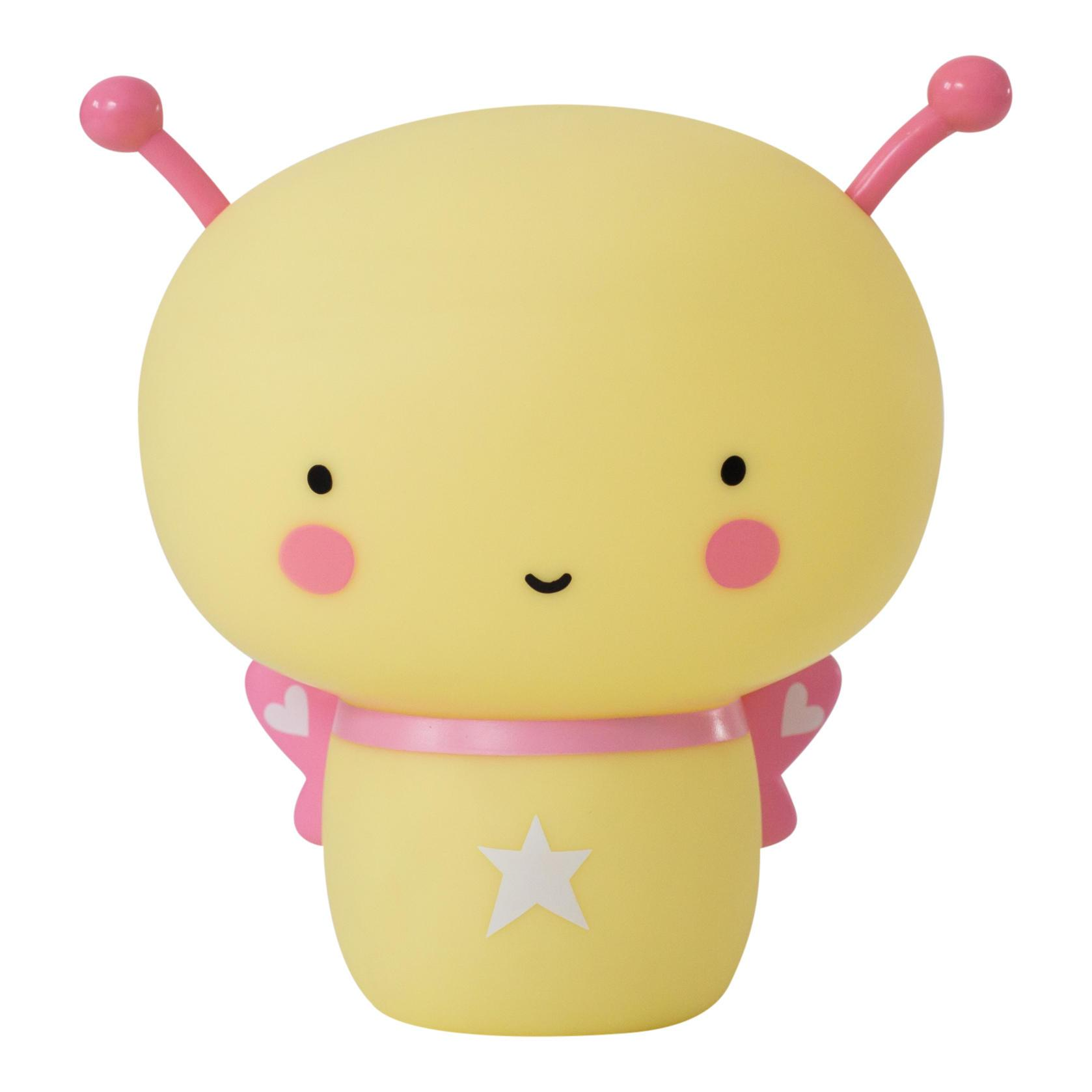 A Little Lovely Company Noční dobíjecí LED lampička Butterfly, růžová barva, žlutá barva, plast