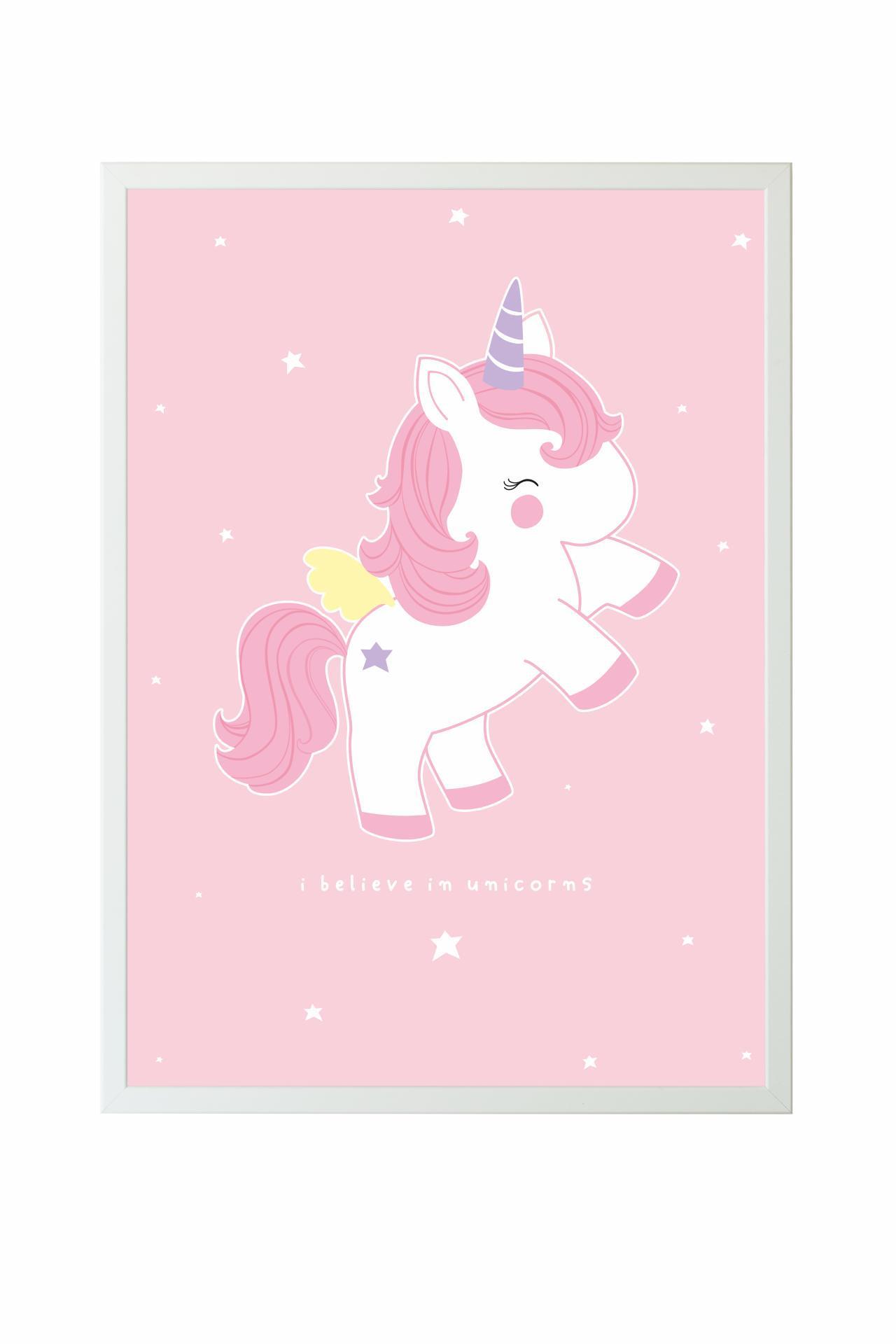 A Little Lovely Company Dětský plakát Baby Unicorn 50x70 cm, růžová barva, papír