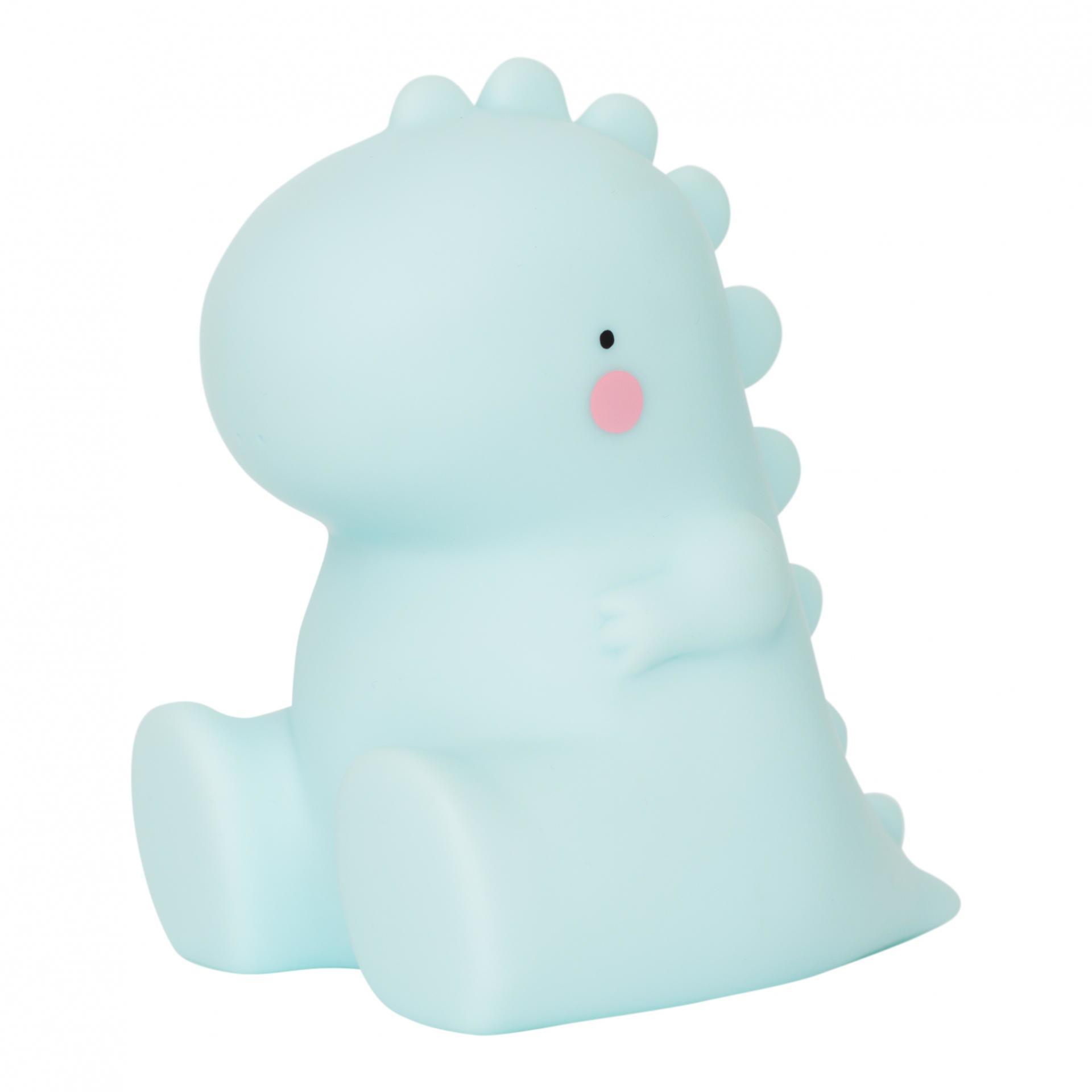 A Little Lovely Company Noční LED lampička T-rex, modrá barva, plast