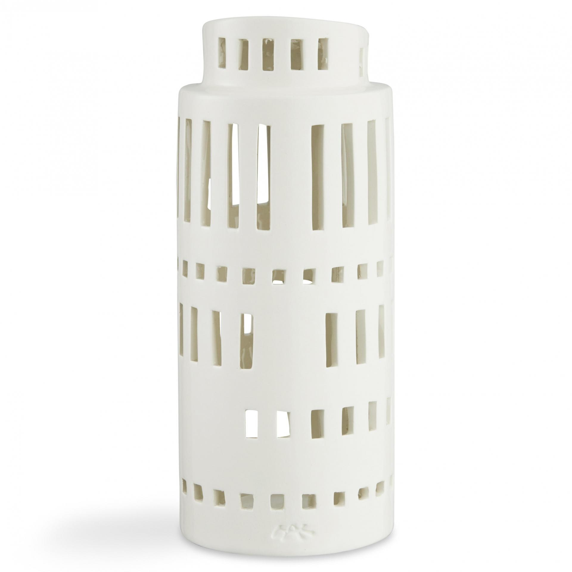 KÄHLER Lucerna domeček Urbania Light 22 cm, bílá barva, keramika