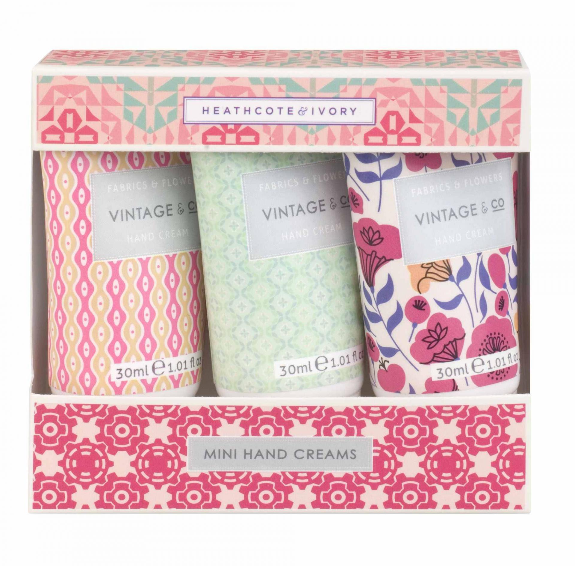 HEATHCOTE & IVORY Dárková sada mini krémů na ruce Fabrics & Flowers, růžová barva, zelená barva, multi barva, plast