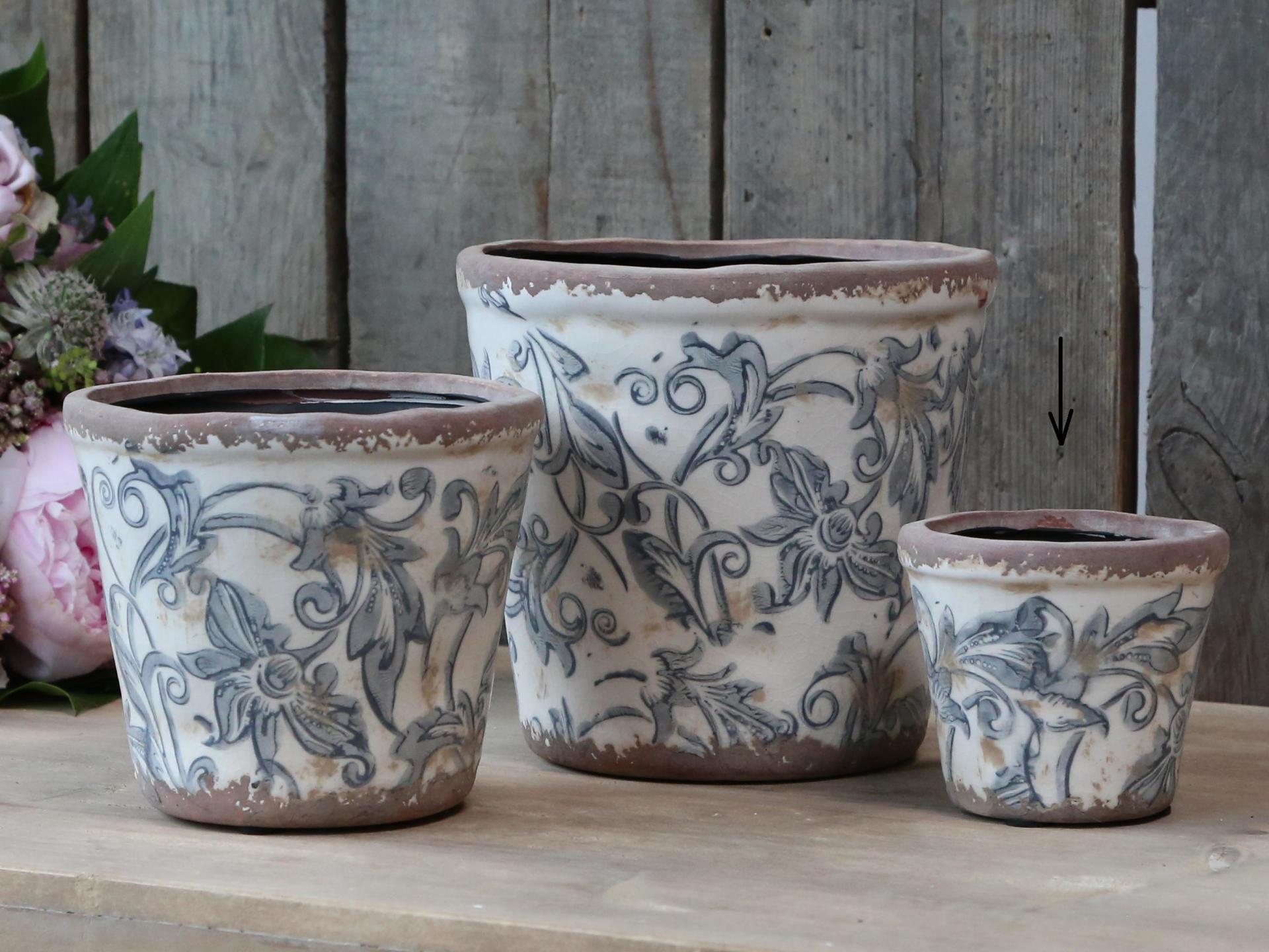 Chic Antique Obal na květiny Pattern French, modrá barva, keramika
