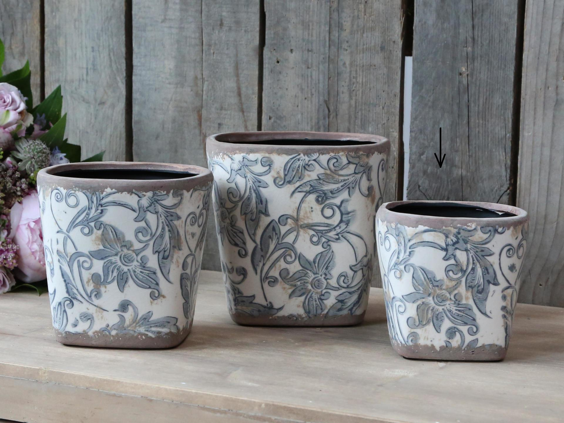 Chic Antique Obal na květiny French Pattern, modrá barva, keramika