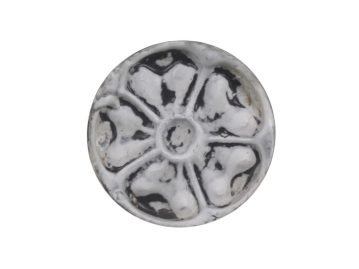 Chic Antique Kovová úchytka Heart Pattern, černá barva, bílá barva, kov