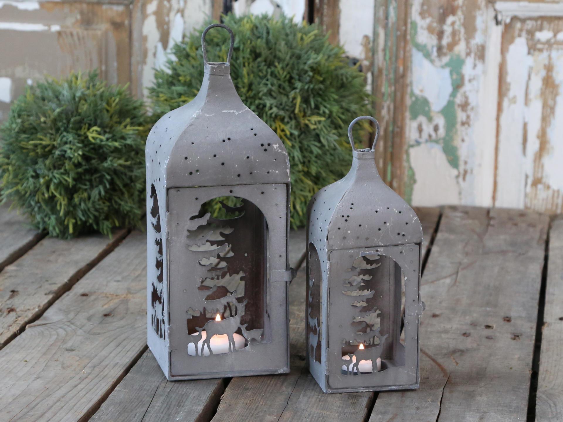Chic Antique Lucerna Antique Zinc - větší, šedá barva, zinek