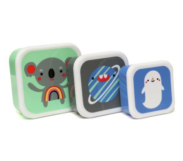 PETIT MONKEY Krabičky na svačinu - set 3 ks, multi barva, plast