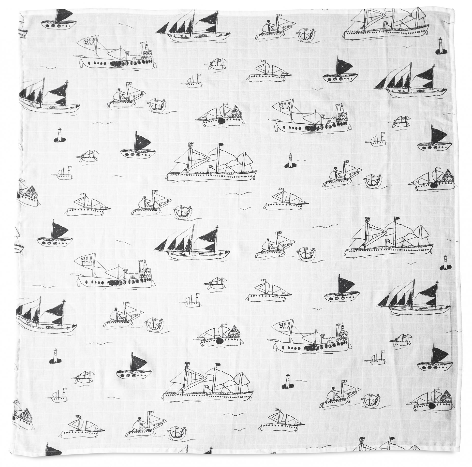 Fine Little Day Dětská mušelínová plenka Ohoy Grey, bílá barva, textil