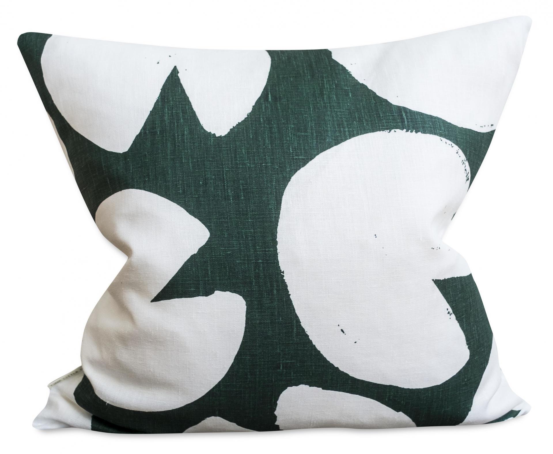 Fine Little Day Lněný povlak na polštář Water Lilies Green 50x50 cm, zelená barva, textil