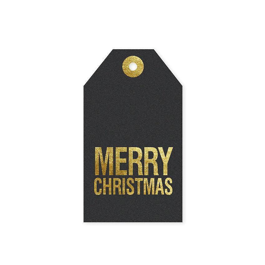 TAFELGUT Vánoční štítek Merry Christmas 6x10,5 cm, černá barva, zlatá barva, papír