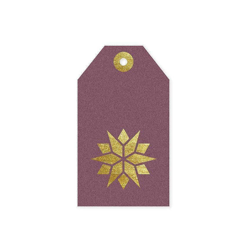 TAFELGUT Vánoční štítek Star Berry 6x10,5 cm, růžová barva, zlatá barva, papír