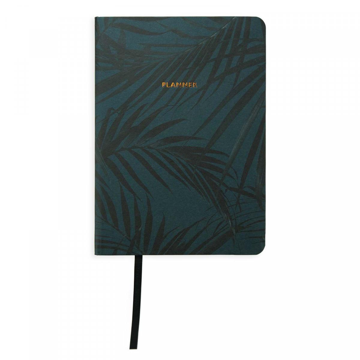 Ohh Deer Planner Dark Botany A6, zelená barva, černá barva, papír
