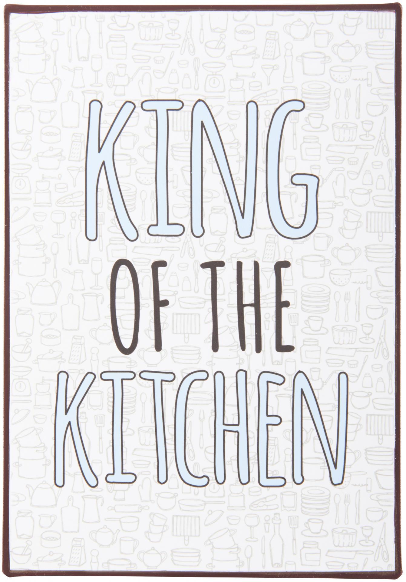 IB LAURSEN Plechová cedule King of the Kitchen, modrá barva, šedá barva, multi barva, kov