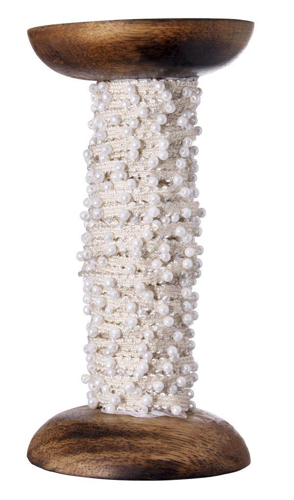 Madam Stoltz Dekorativní stuha light creme/pearl