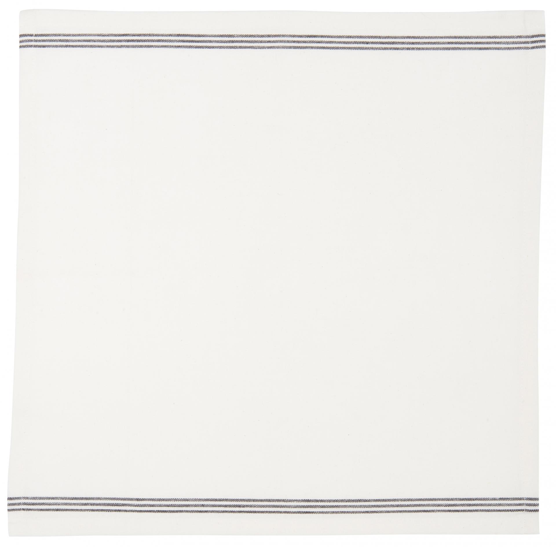 IB LAURSEN Bavlněný ubrousek Black stripes 40x40, černá barva, bílá barva, textil
