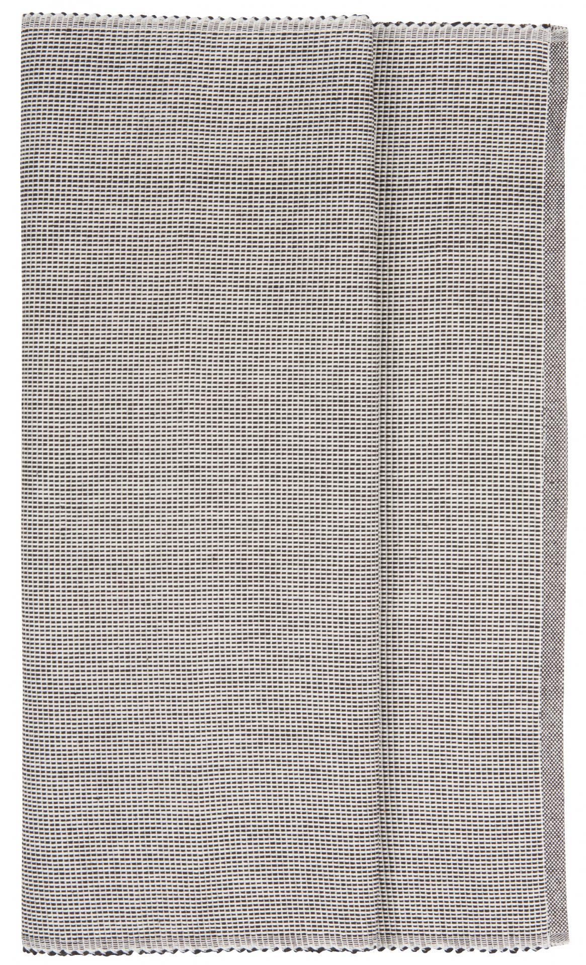 IB LAURSEN Běhoun na stůl Black/white 50x150cm, černá barva, textil