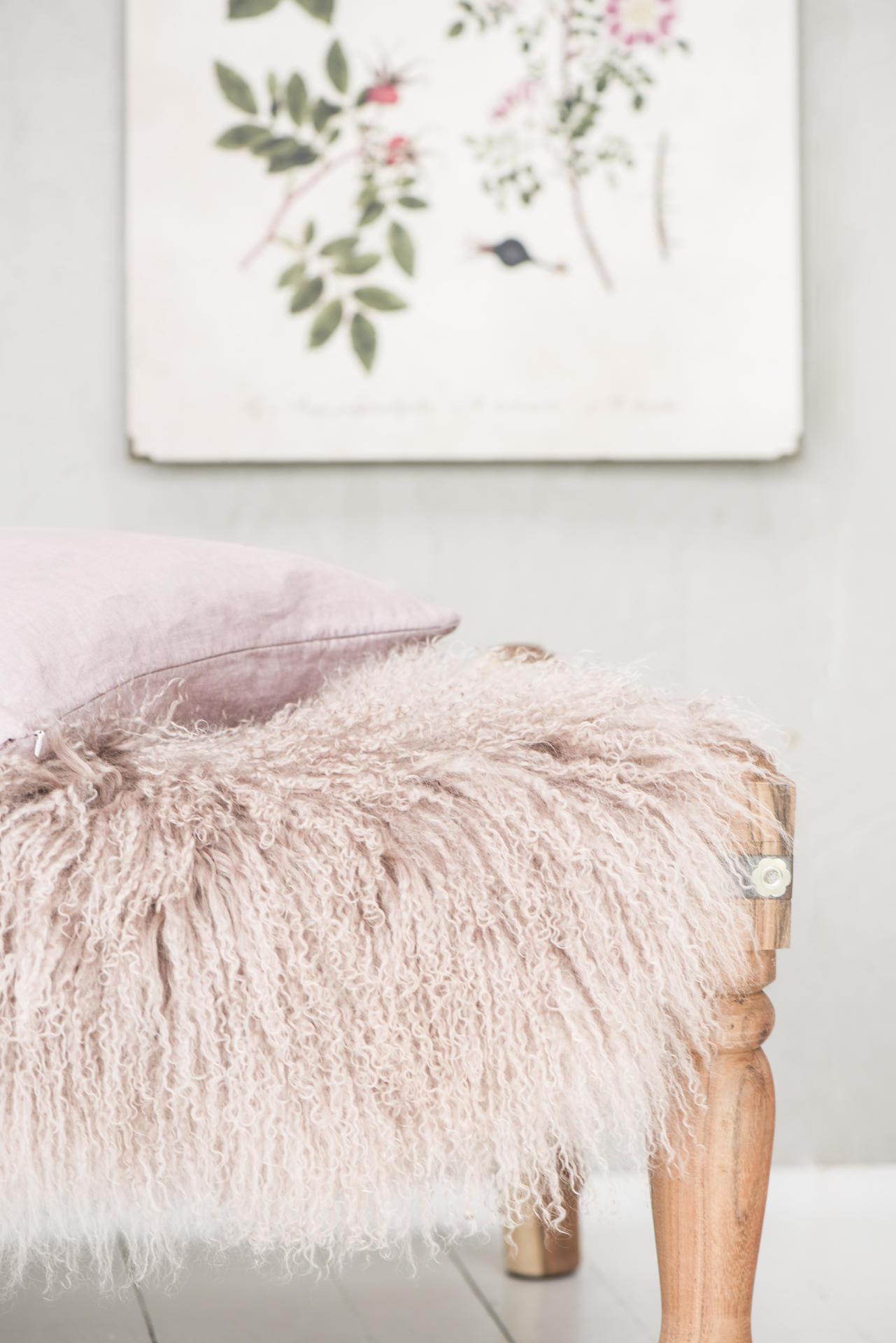 IB LAURSEN Tibetská ovčí kožešina Malva, růžová barva, kožešina