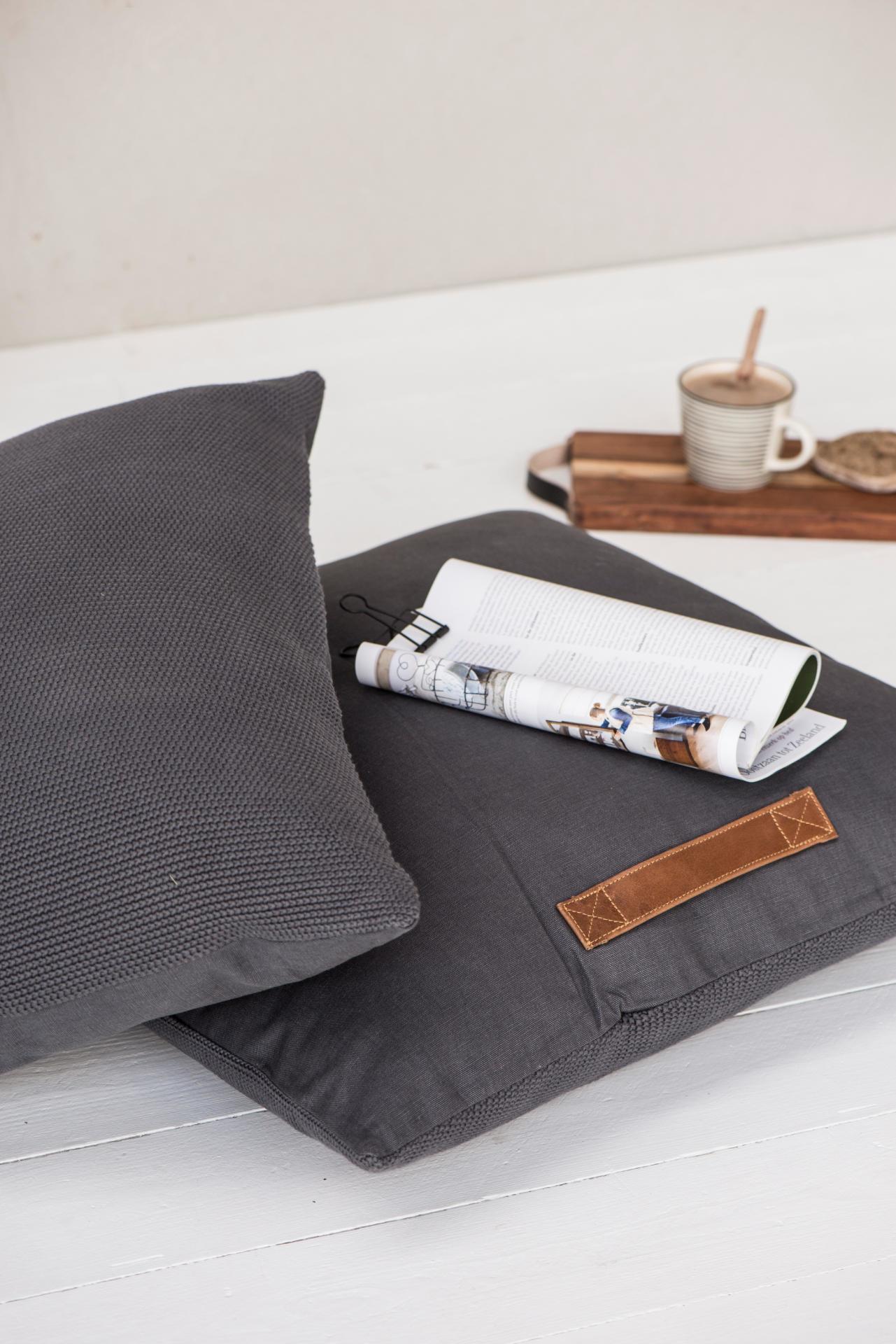 IB LAURSEN Sedací polštář Floor 65x65 cm, šedá barva, textil