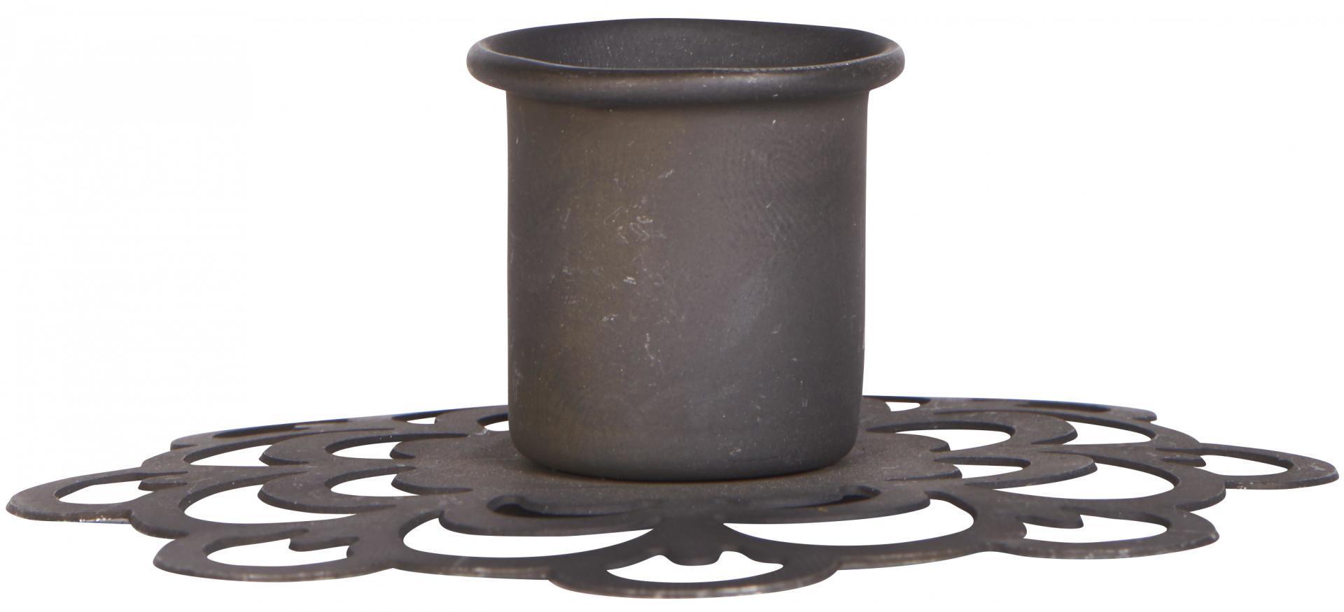 IB LAURSEN Kovový svícen Flower Pattern, černá barva, kov